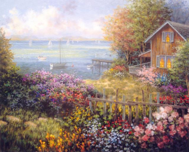 Домик у моря, пейзаж, домик,