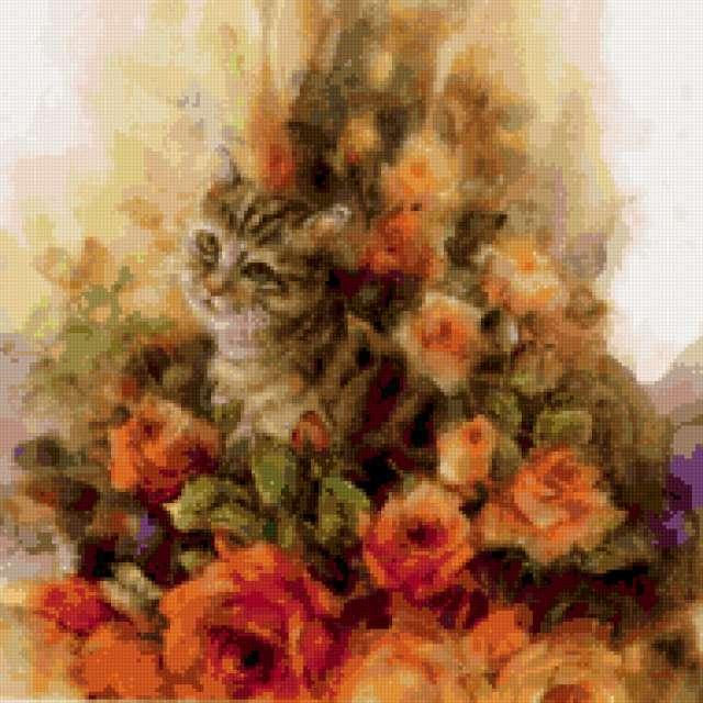 Кот и розы, предпросмотр