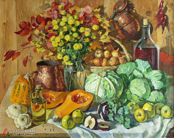 Still life with cabbage,