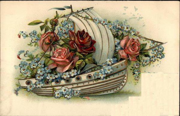 Ретро-открытка, цветок, роза,