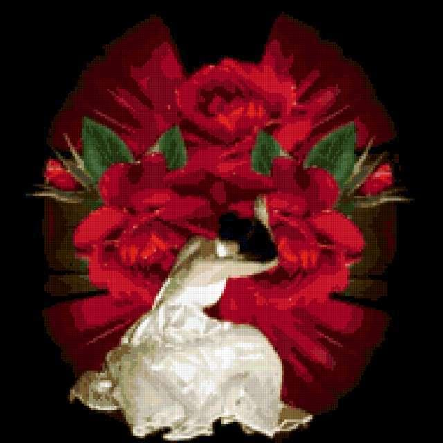 Девушка и розы, предпросмотр