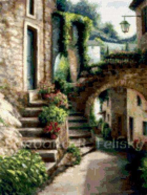 Схема вышивки «Улицы Италии»
