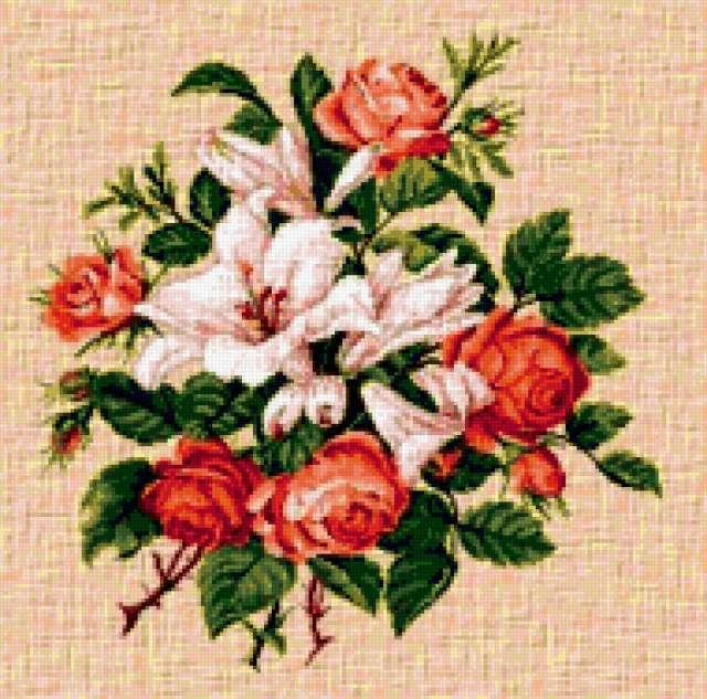 """Подушка""""розы и лилии"""","""
