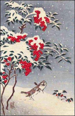 Рябина под снегом, птицы,