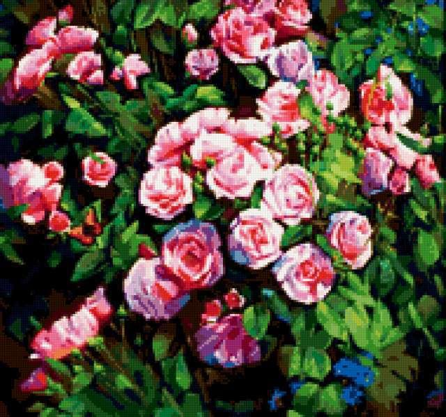 Розы и маленькая бабочка,