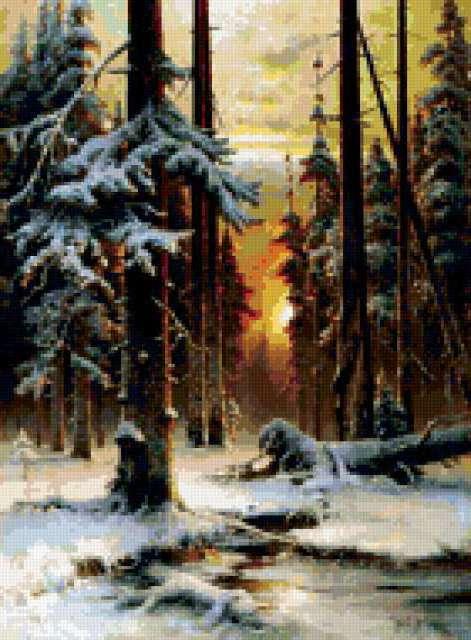 Утро в зимнем лесу,