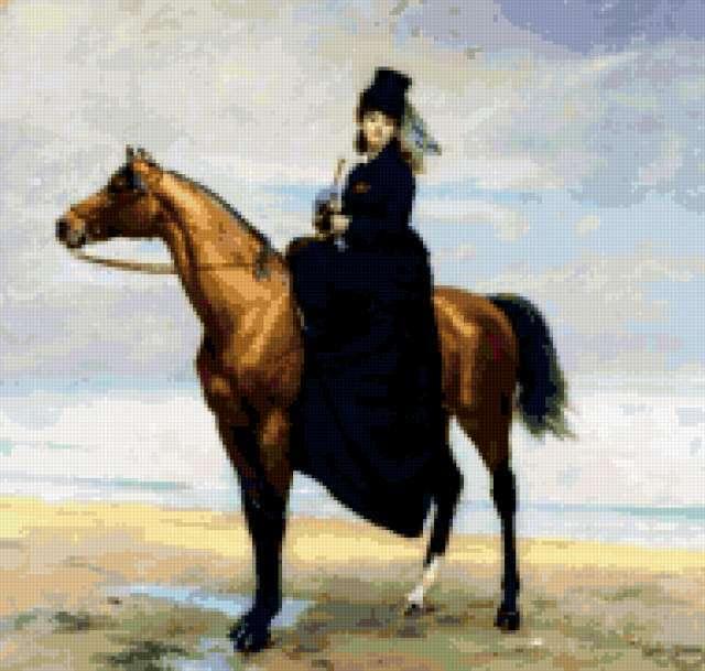 Всадница, лошадь, конь