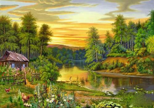 Дом у реки, природа, домик,