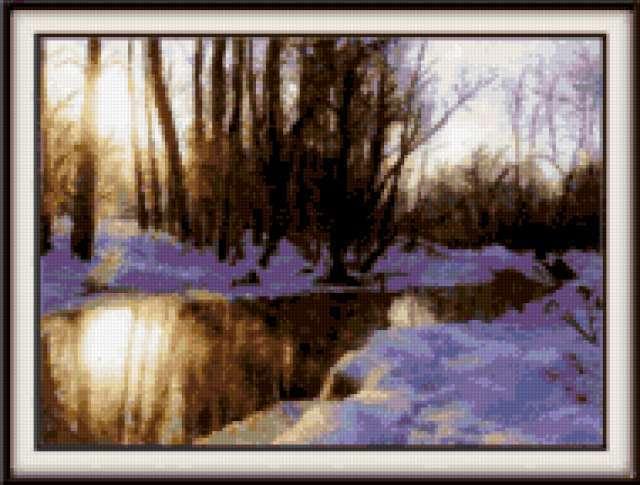 """Набор для вышивания крестиком  """"Яуза зимой """". .  Размер картины: 32,5см.х24,5см. Техника: счетный крест. ."""