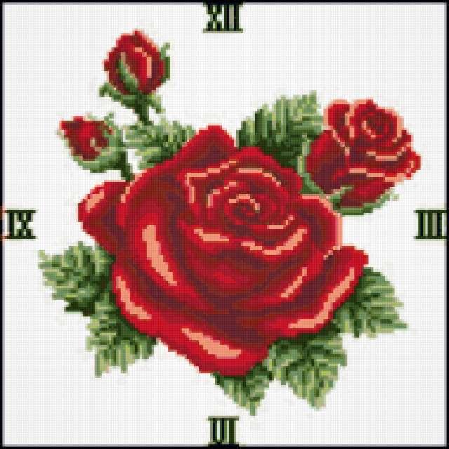 Циферблат Алая роза, цветы,