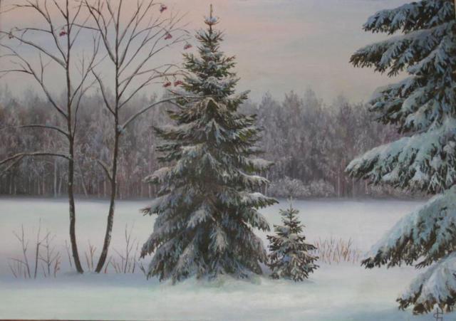 природа, елка, зима, снег