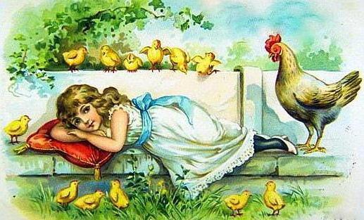 В окружении цыплят, цыплята, курица, квочка, девочка, весна, пасха, ребёнок