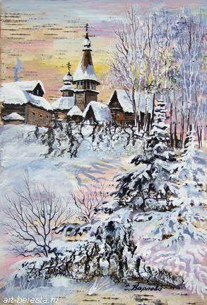 Деревенская церковь, зима