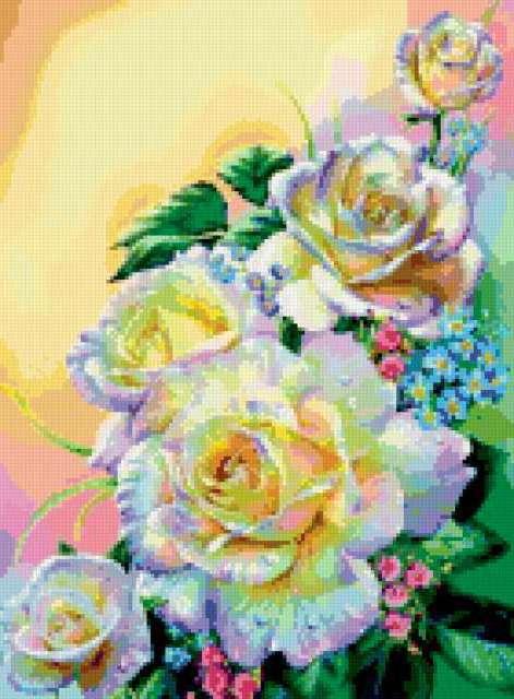 Белые розы и незабудки, розы,