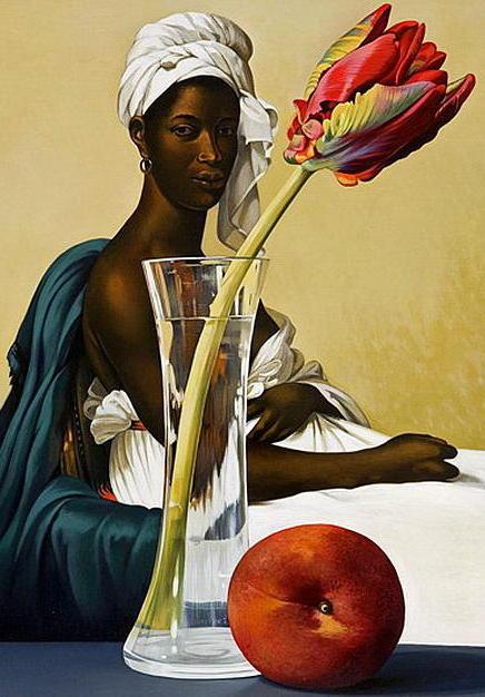 Африканская женщина и тюльпан,