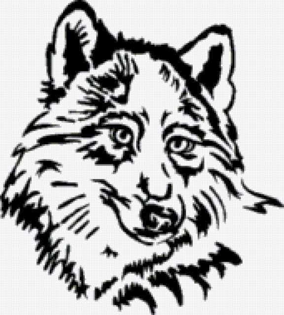 черно волка схема белом вышивки