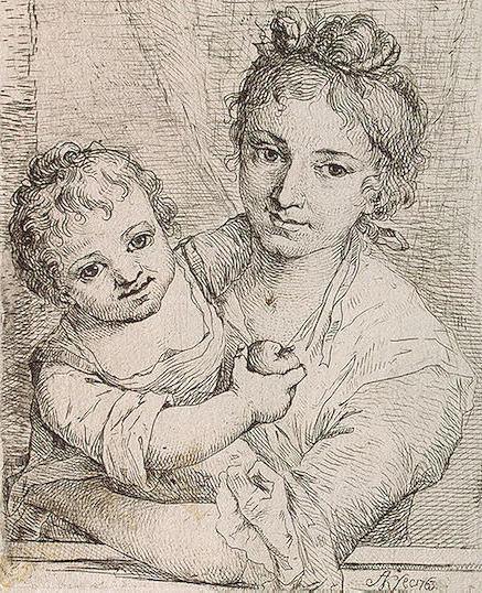 Мать и дитя с яблоком,