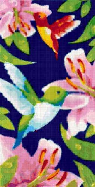 Четкие птички на синем.,