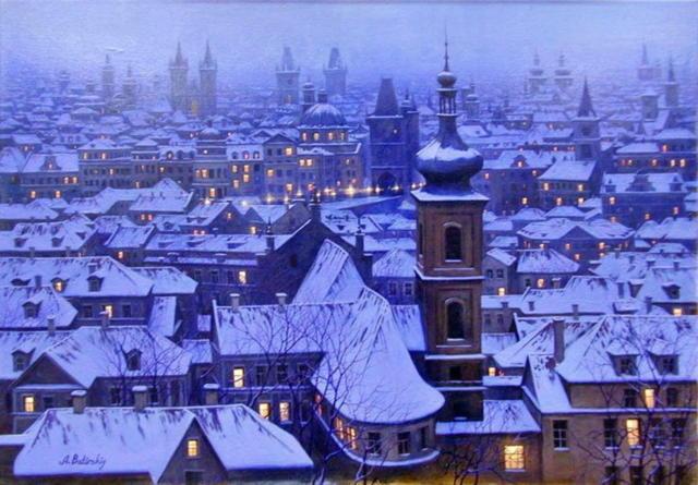 Ночной город зимой, оригинал