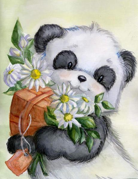 Панда с букетом, оригинал