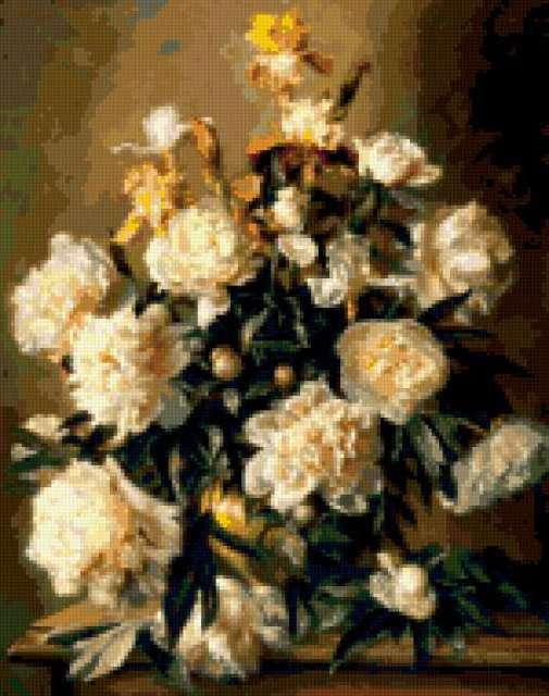 Белые ирисы вышивка крестом