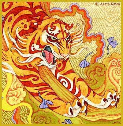 Тигр в восточном стиле,