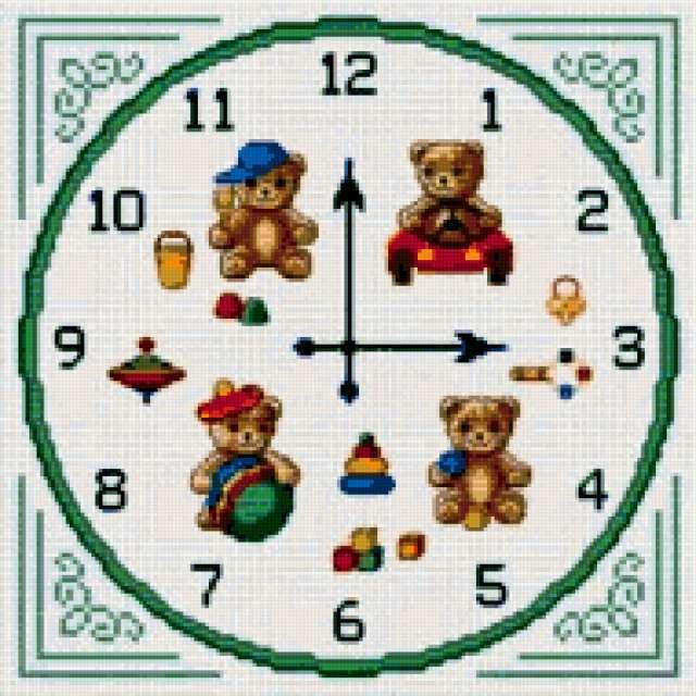 Часы с мишками для детской,