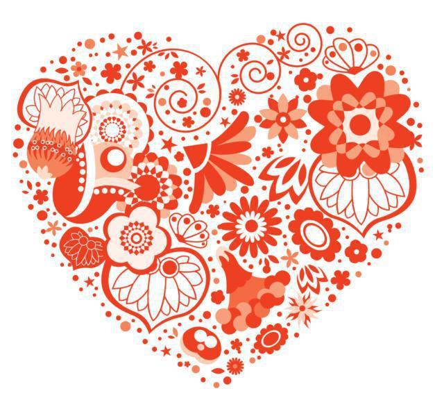 Фигуры из цветов - сердце,