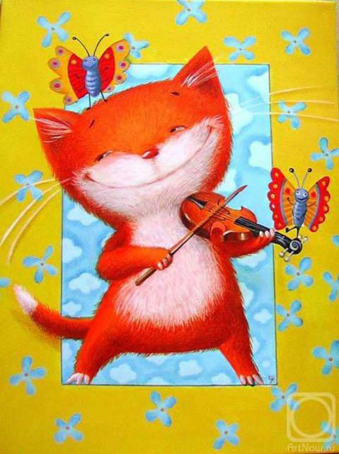 Кот-музыкант, кошка, кошки,