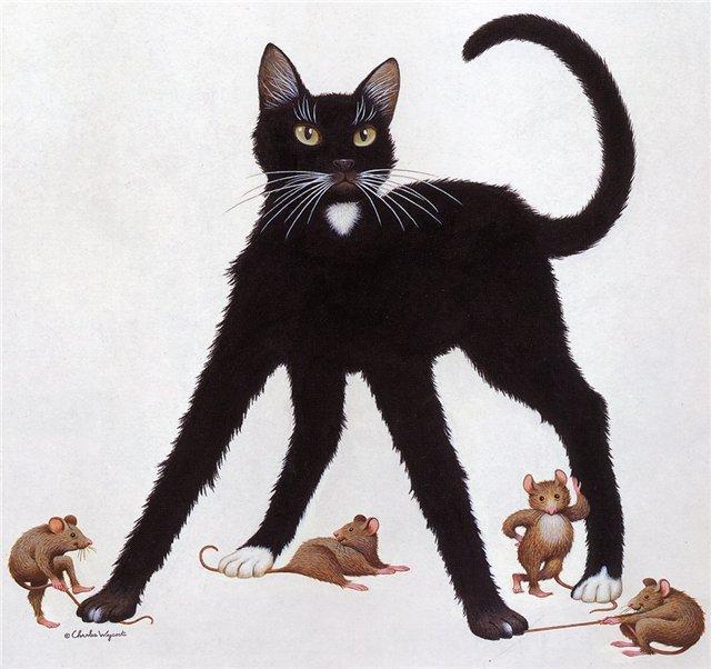 Черный кот и мыши, оригинал