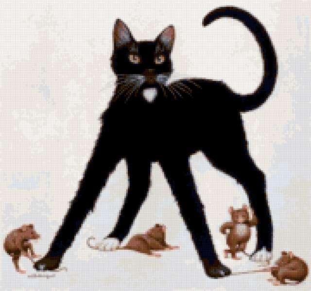 Черный кот и мыши,