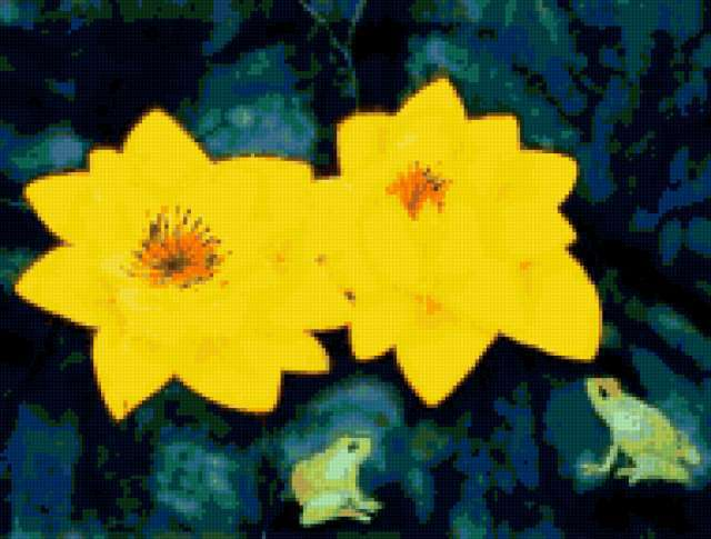 Желтые лилии и лягушата,