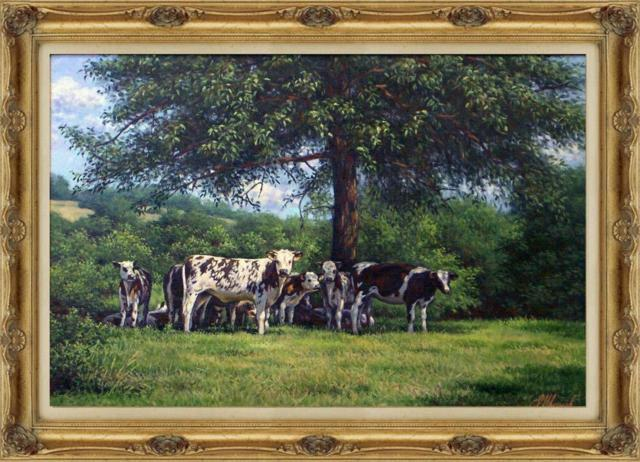 Деревенский пейзаж с коровами,
