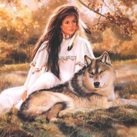 Девушка с волком, оригинал