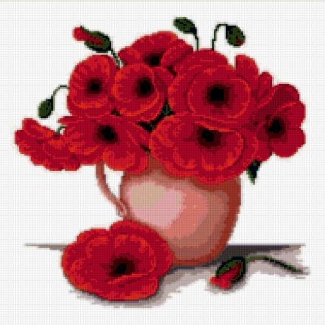 Красные маки, цветы .букет