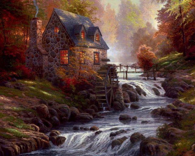 Дом около реки, природа,
