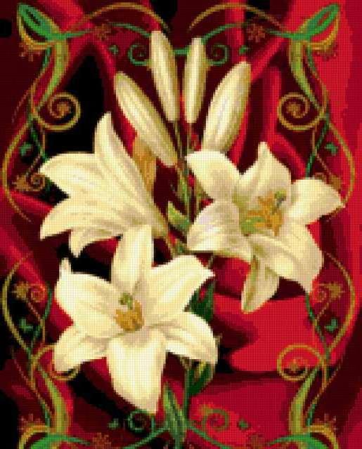 Схема для вышивки крестом лилии