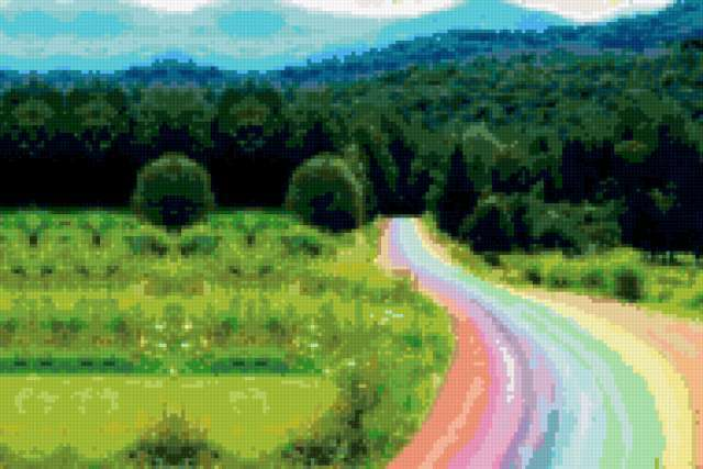 Дорога-радуга, природа, пейзаж