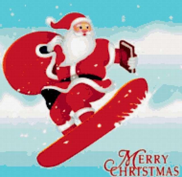 Санта на сноуборде