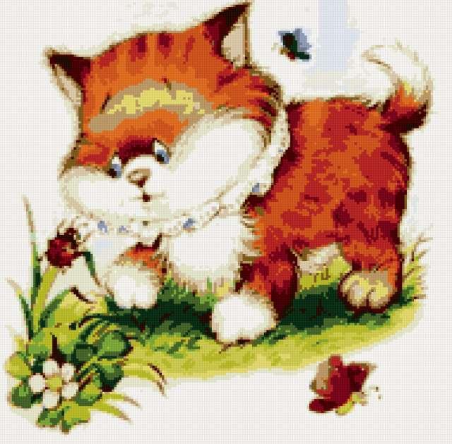 Котёнок на прогулке, кошка,
