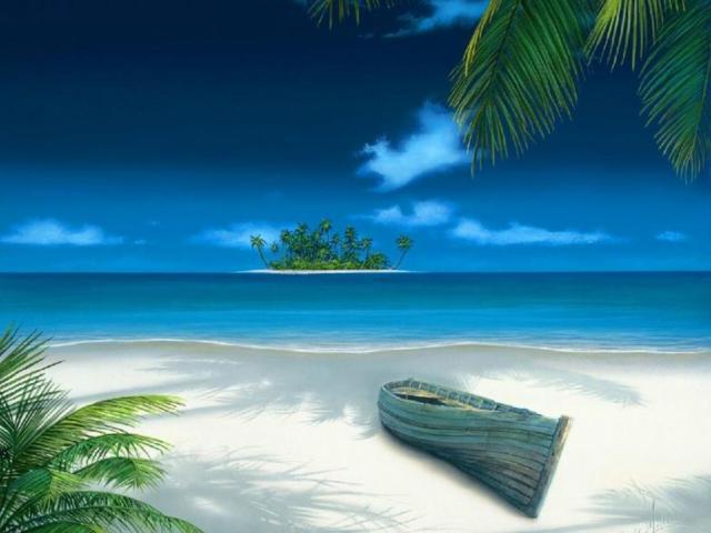 Лодка, пляж, лодка, море