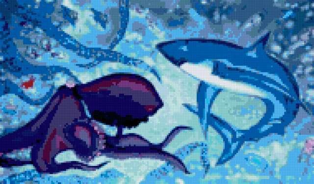 На дне морском, море, акула,