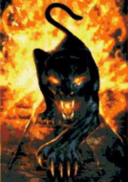 Схема вышивки «Пантера в огне»