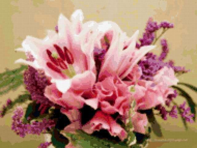 Букет из розовых лилий, цветы,
