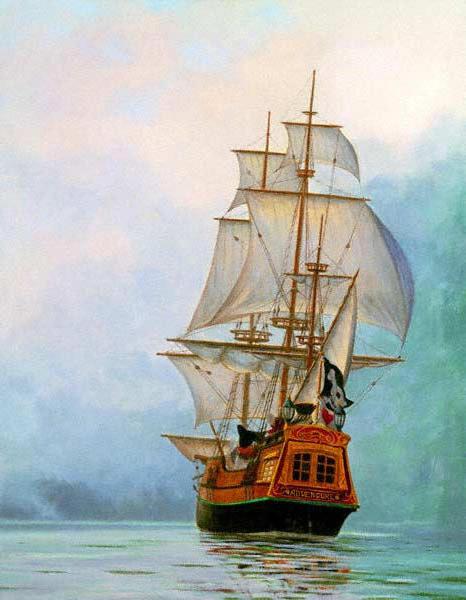 Пиратский флаг, море, парусник