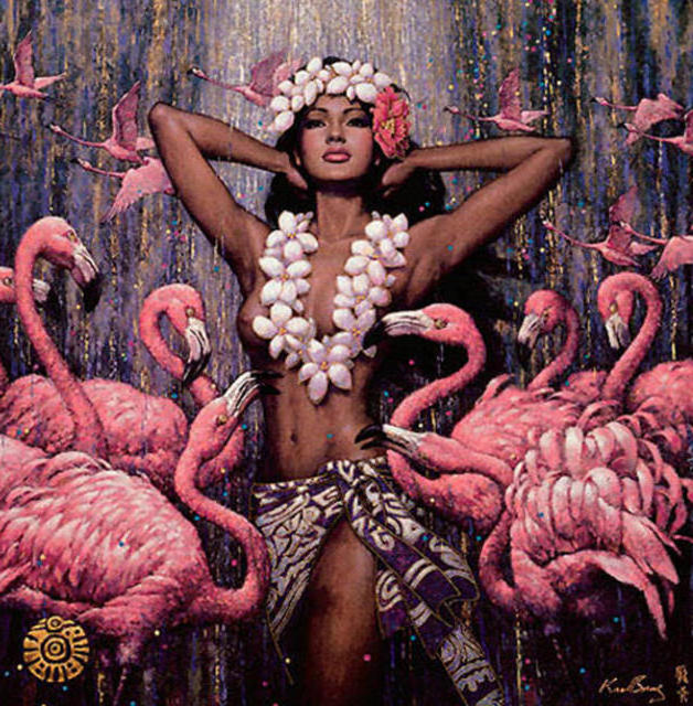 Розовые фламинго и девушка,