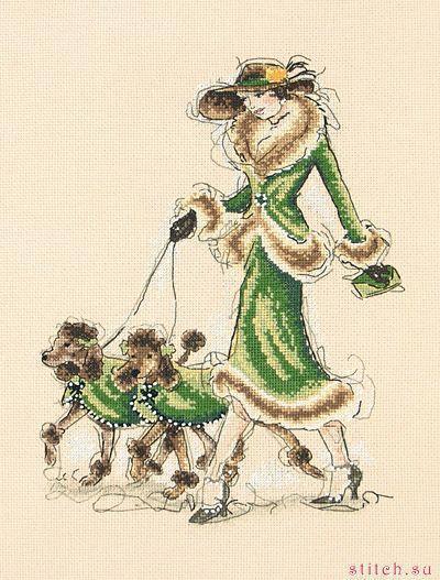 Дама с собачками вышивка крестом