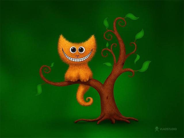 Кот на дереве, звери,