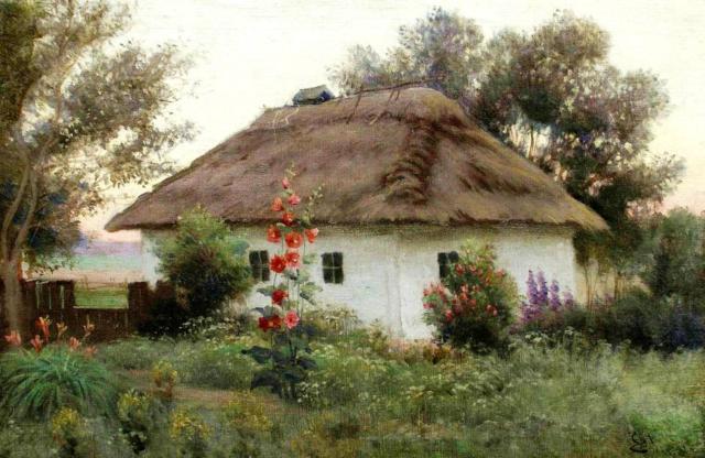 Украинский пейзаж с хатой,