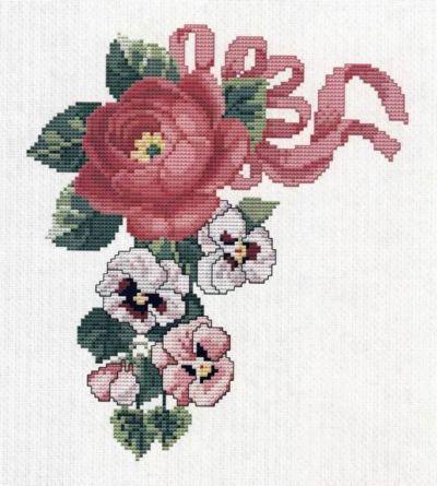 Роза и виола, цветы, букет